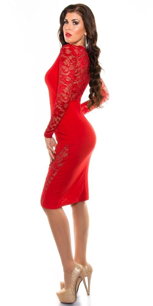 35e644396f94 Červené šaty s čipkou - Koucla - Večerné šaty a koktejlové šaty ...