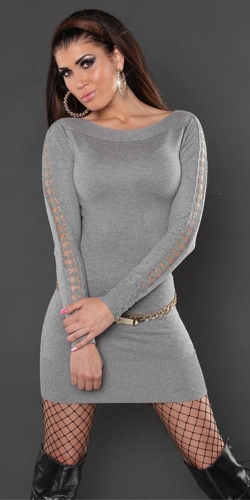 7fb23ef1f993 Dámske šaty - sivé - Koucla - Úpletové šaty - vasa-moda.sk