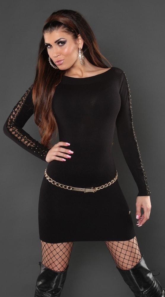 ad52cc808d4c Čierne úpletové šaty - Koucla - Tuniky - vasa-moda.sk