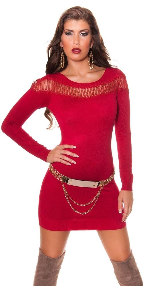 d7e2b084ca1c Šaty z úpletu - červené - Koucla - Úpletové šaty - vasa-moda.sk