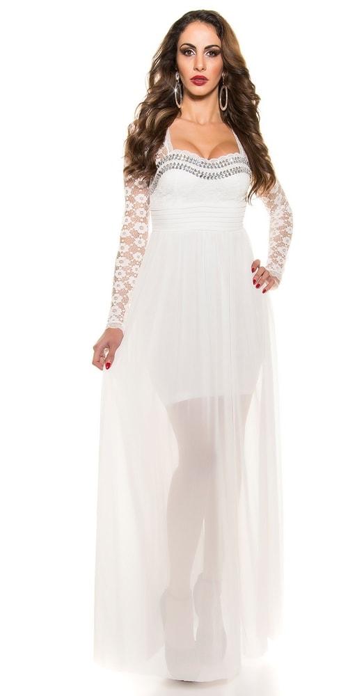 a37c1bcf8c38 Krásne biele plesové šaty - Koucla - Dlhé plesové šaty - vasa-moda.sk