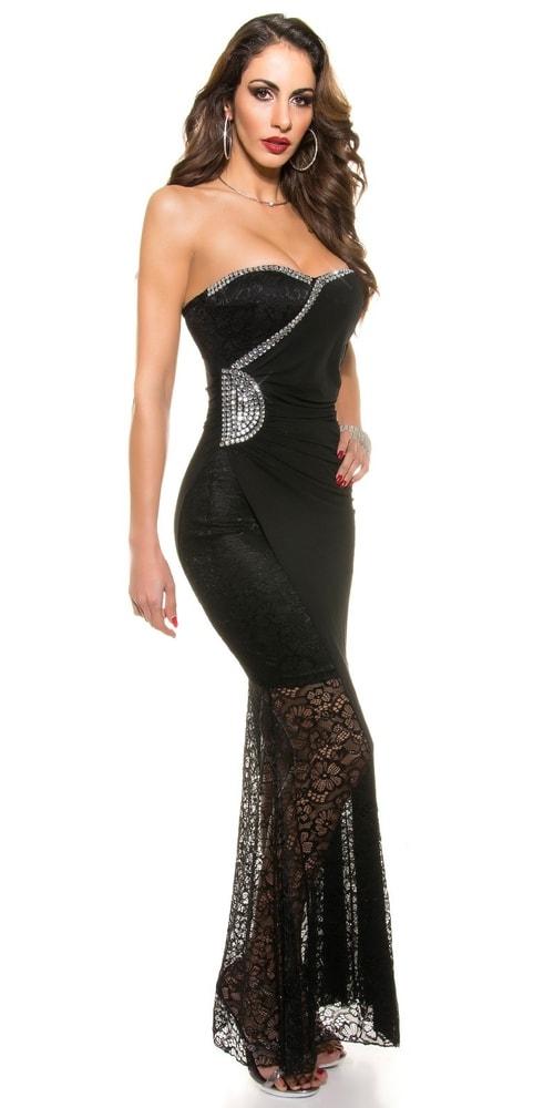 183c7bb426dc Čipkované čierne dlhé šaty - Koucla - Večerné šaty a koktejlové šaty ...