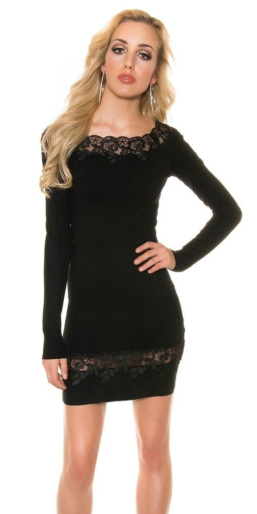 9429fe399dd8 Elegantné čierne úpletové šaty - Koucla - Úpletové šaty - vasa-moda.sk