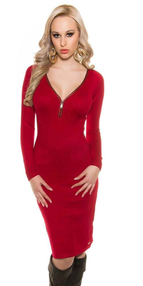 6b67a6303439 Červené šaty z úpletu - Koucla - Úpletové šaty - i-moda.cz
