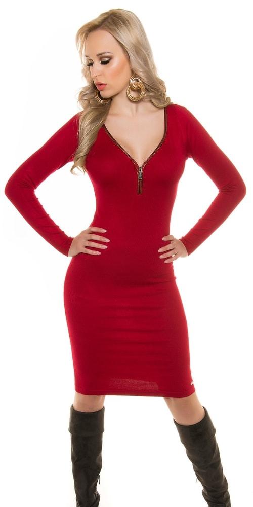 54736e0ac6b2 Červené šaty z úpletu - Koucla - Úpletové šaty - vasa-moda.sk
