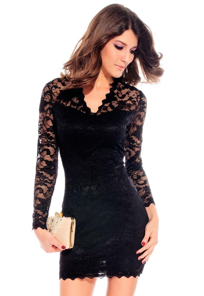 018e881c2932 Černé krajkové šaty - DAMSON - Večerní šaty a koktejlové šaty - i ...