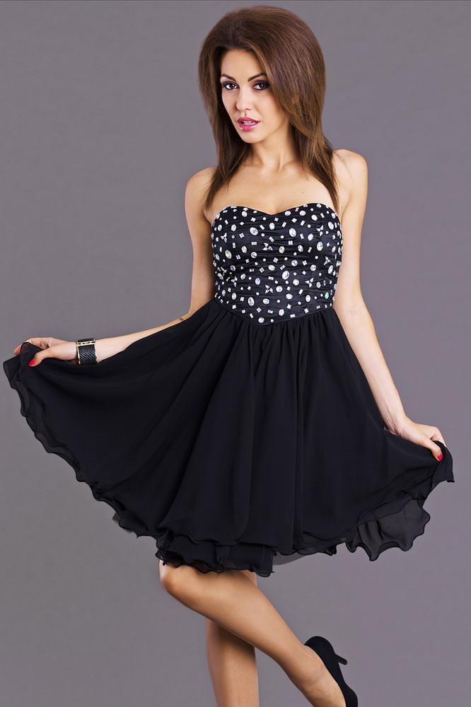 b6ac29be1 Černé šaty na ples - Emamoda - Krátke plesové šaty - vasa-moda.sk