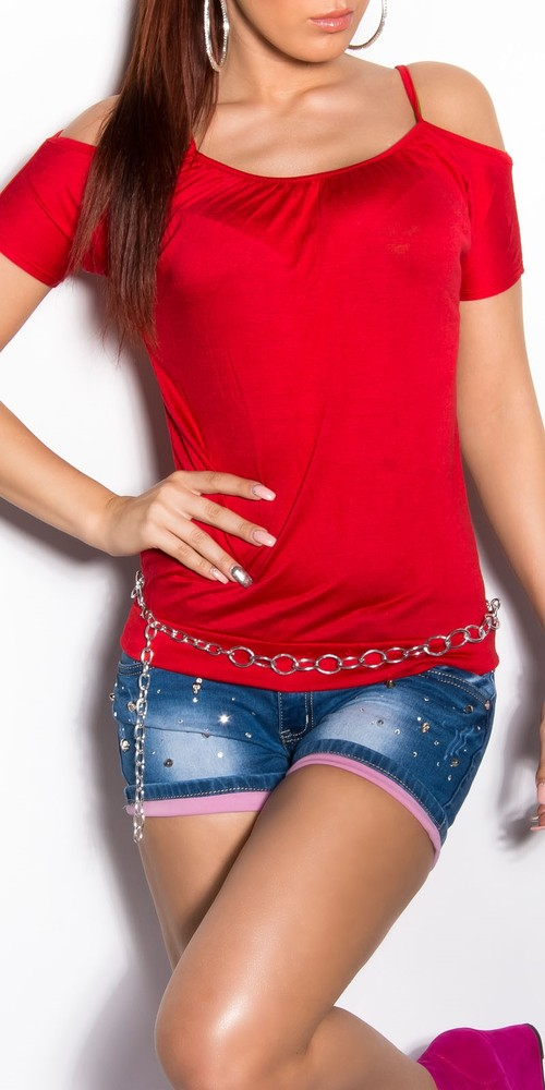 1e3d205b3169 Dámske letné tričko - červené - Koucla - Dámske tričká - vasa-moda.sk