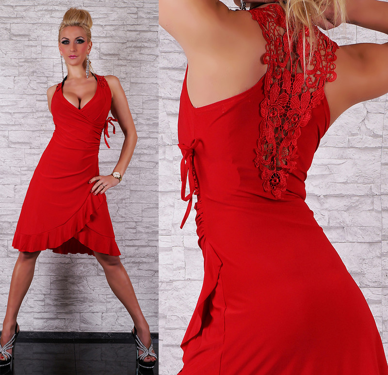 f3a4d59f8c80 Červené dámské šaty - Queen O.F. - Krátke letné šaty - vasa-moda.sk