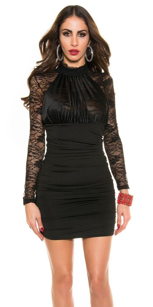 4dbb319e659f Čierne minišaty s čipkou - Koucla - Večerné šaty a koktejlové šaty ...