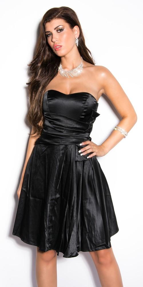 090c0a825ca2 Dámské saténové šaty černé - Koucla - Krátke plesové šaty - vasa ...