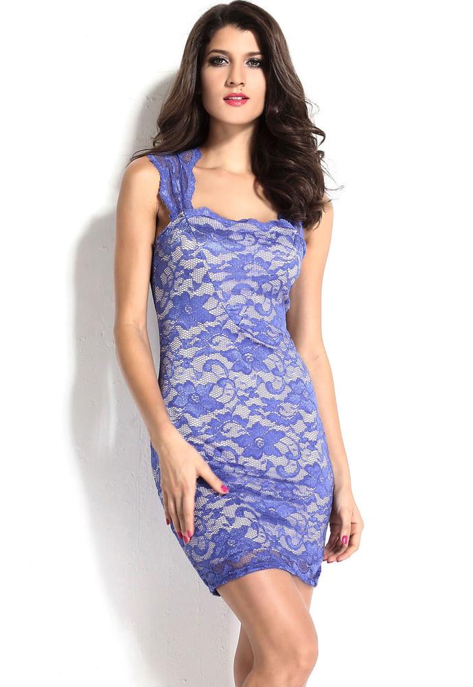 df66a5157227 Krajkové šaty modré - DAMSON - Večerné šaty a koktejlové šaty ...