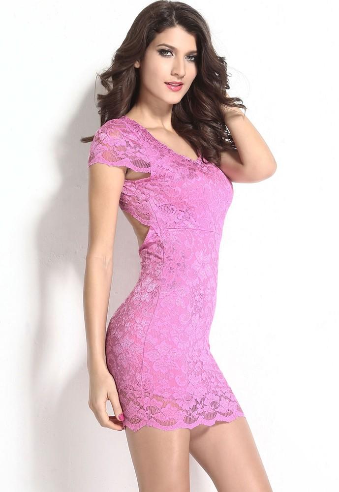 961890428135 Krajkové růžové mini šaty - DAMSON - Večerní šaty a koktejlové šaty ...