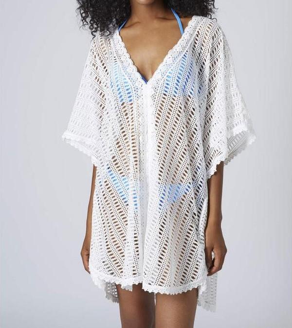 922fe8a3e362 Bílá plážová tunika - DAMSON - Plážové šaty - vasa-moda.sk