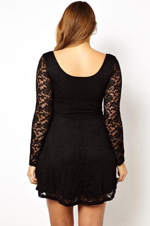 446acf7db982 Krajkové šaty pro plnoštíhlé - černé - DAMSON - Šaty pro plnoštíhlé ...