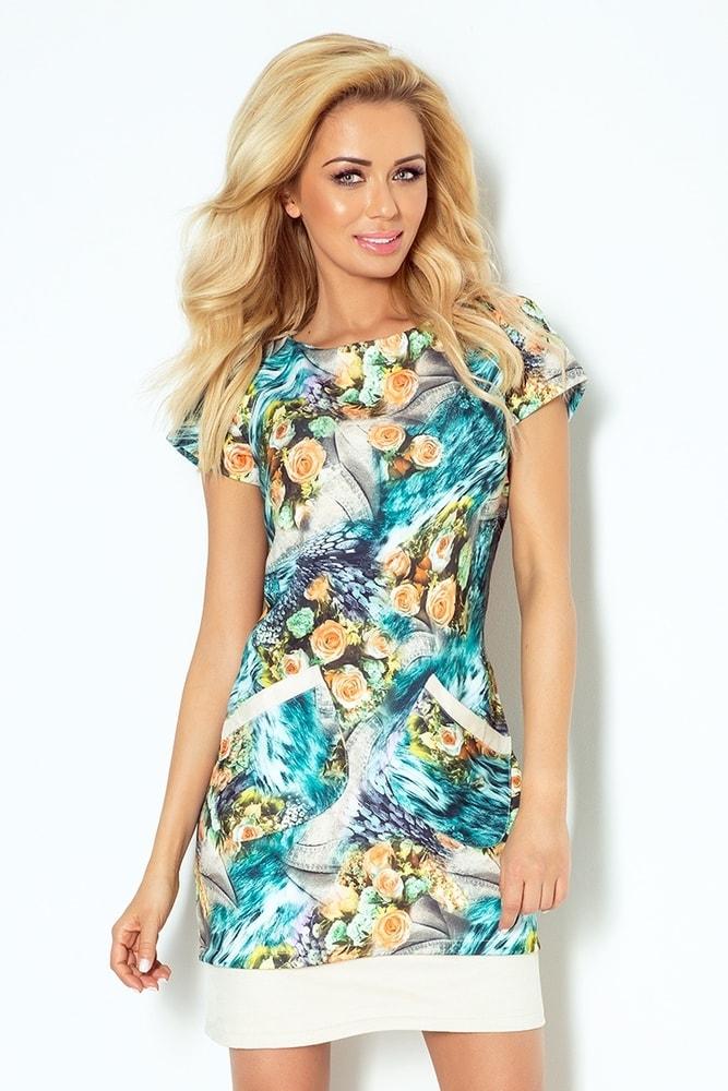 5f5ea956fb75c Dámske šaty s farebnou potlačou 62-4 - Numoco - Šaty pre voľný čas ...