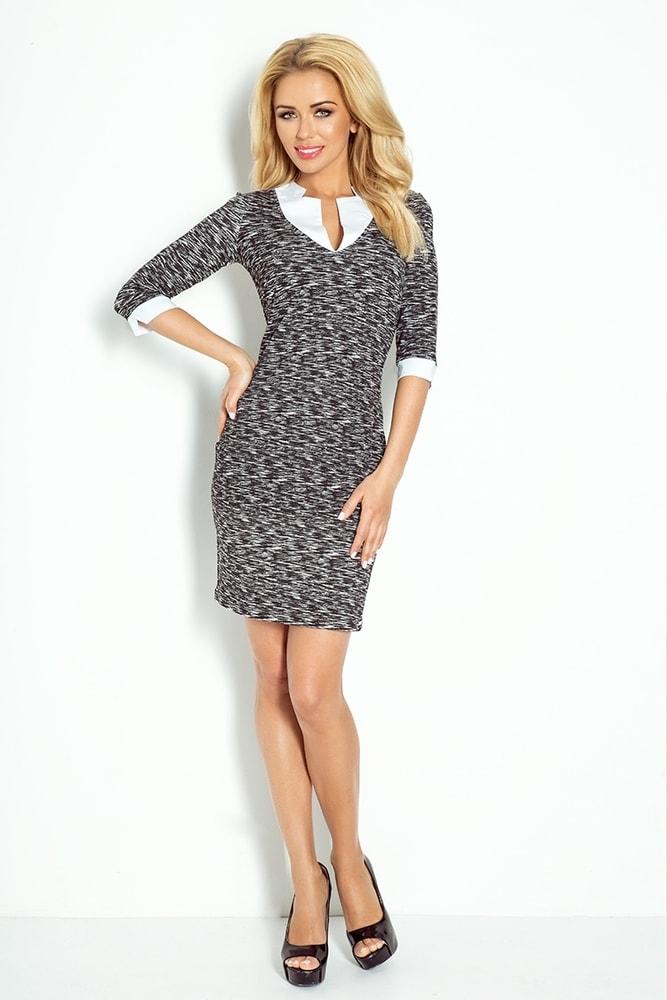 493ba572225d Elegantné šaty s golierom 110-3 - Numoco - Business šaty - vasa-moda.sk