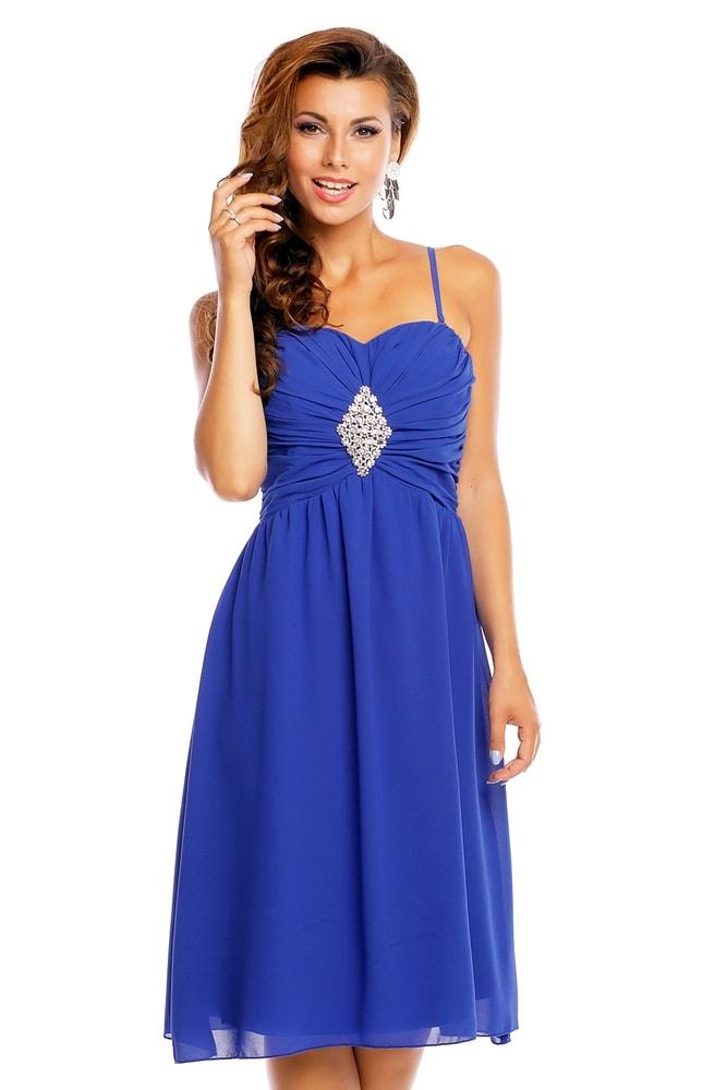 7100a9ce54a1 Večerné modré dámske šaty - EU - Krátke plesové šaty - vasa-moda.sk