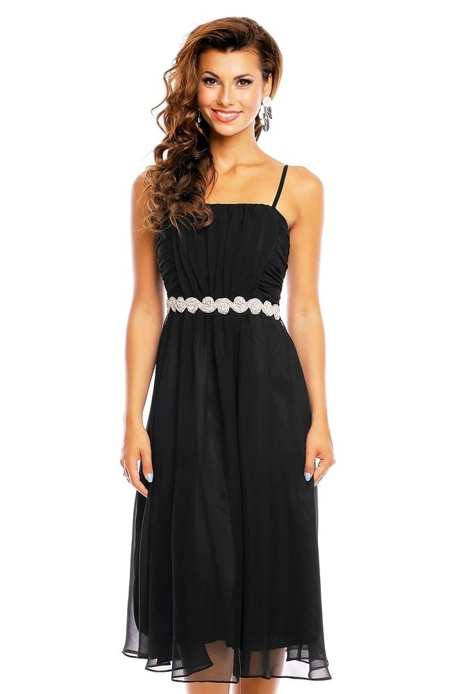 4fd235afdc26 Spoločenské čierne šaty na ramienka - EU - Krátke plesové šaty ...