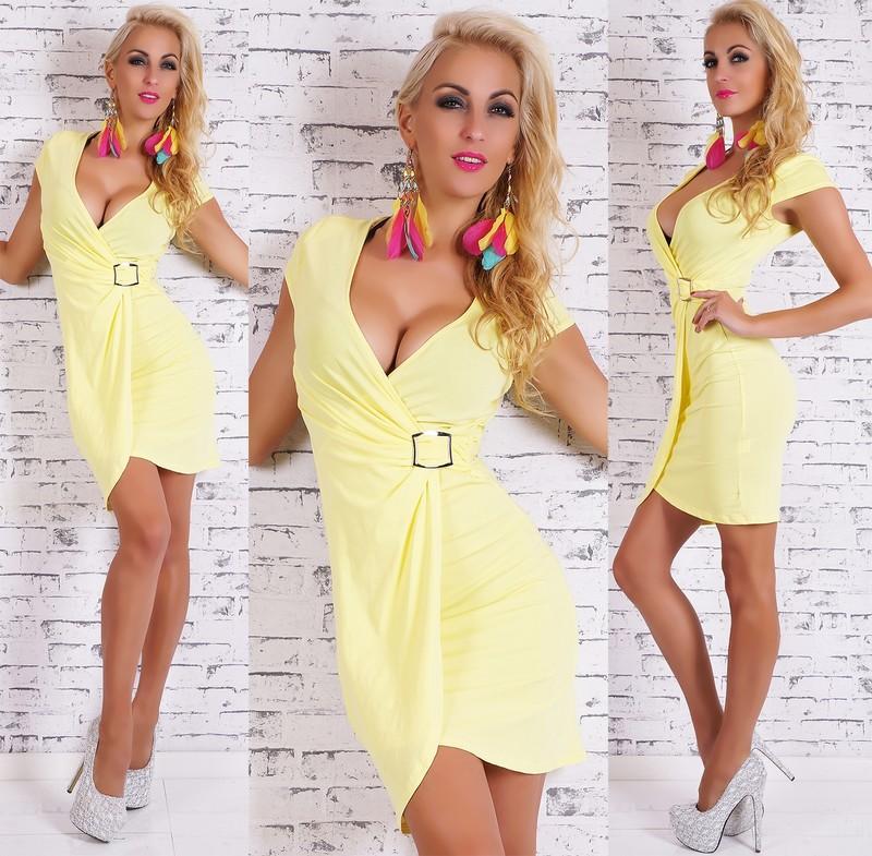 8b5a19347e5c Dámske letné šaty žlté - Giorgia - Úpletové šaty - vasa-moda.sk