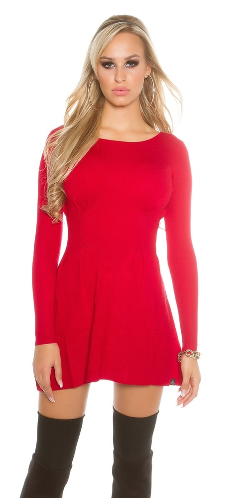 3caf0e4df230 Červené dámske šaty z úpletu - Koucla - Úpletové šaty - vasa-moda.sk