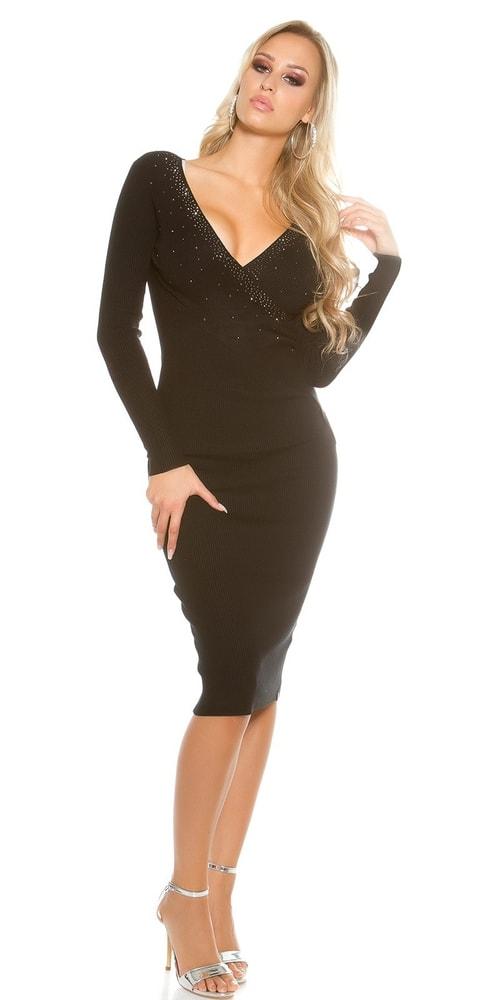 6808125c71 Dámske čierne úpletové šaty - Koucla - Úpletové šaty - vasa-moda.sk