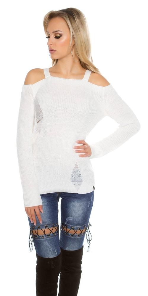 242b7a40d707 Dámsky biely sveter - Koucla - Dámske svetre - vasa-moda.sk