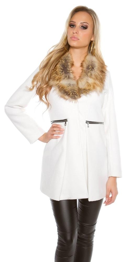 35631bf739 Biely kabát dámsky - Koucla - Dámske kabáty zimné - vasa-moda.sk