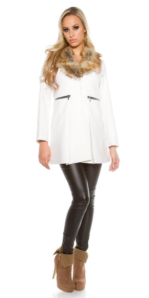 557a674ee1e1 Biely kabát dámsky - Koucla - Dámske kabáty zimné - vasa-moda.sk