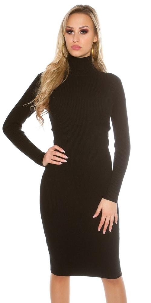 57a74cb4d9f0 Čierne pletené šaty s rolákom - Koucla - Úpletové šaty - vasa-moda.sk