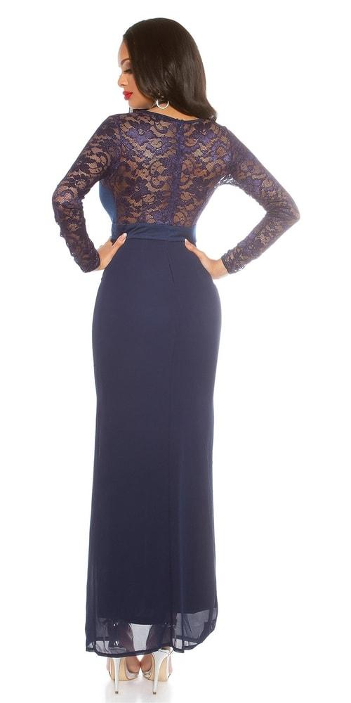 07e1b9ee2da9 Modré dlhé šaty s čipkou - Koucla - Večerné šaty a koktejlové šaty ...
