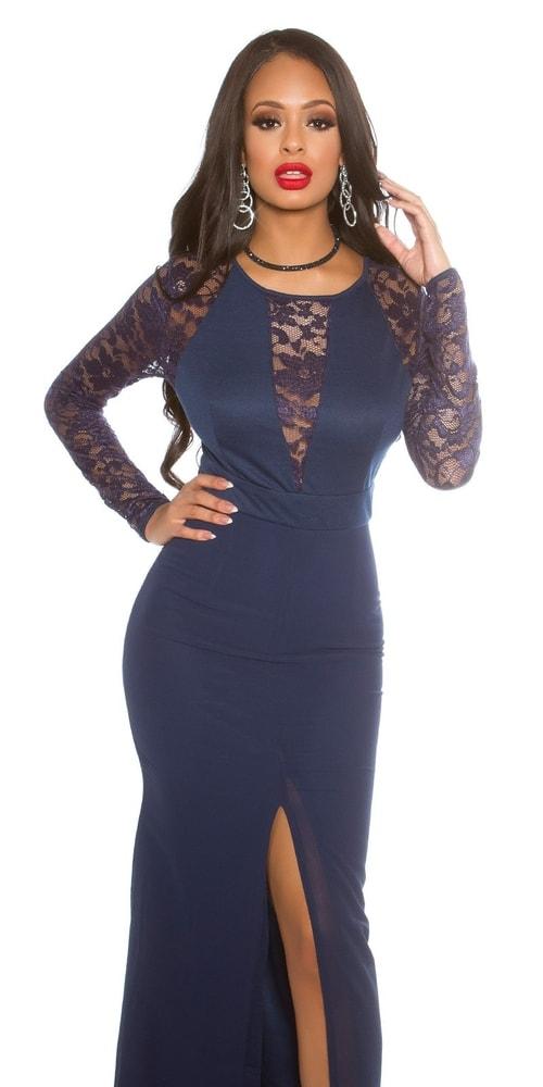 62dbb3aaa991 Modré dlouhé šaty s krajkou - Koucla - Večerní šaty a koktejlové ...