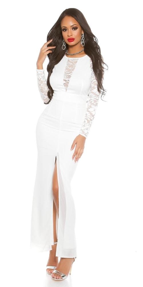 d9ac54184952 Dámské bílé dlouhé šaty - Koucla - Večerní šaty a koktejlové šaty - i ...