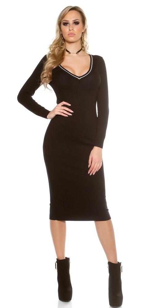 87b3172a630c Čierne pletené šaty - Koucla - Úpletové šaty - vasa-moda.sk