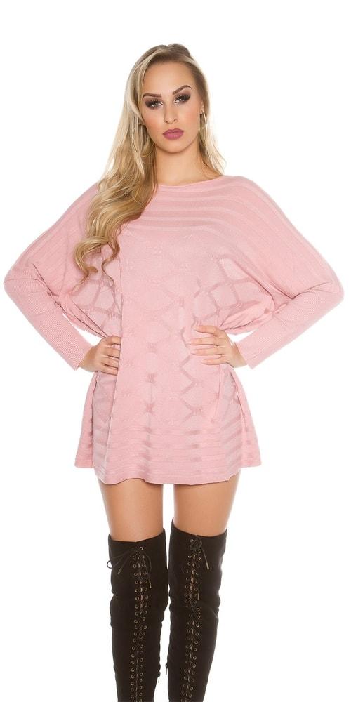 81b17e5b6029 Ružový dámsky sveter - Koucla - Dlhé svetre k legínam - vasa-moda.sk