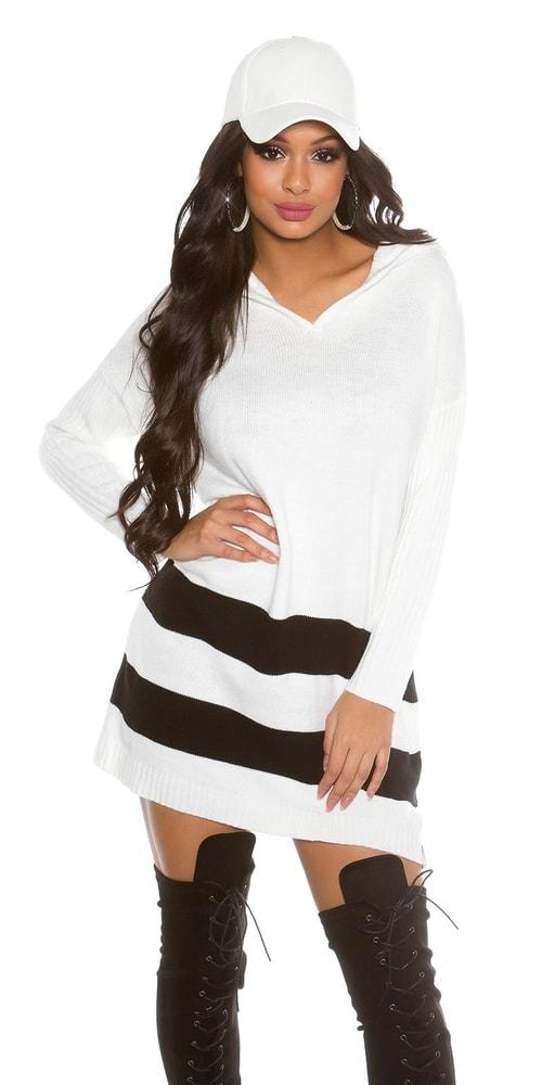 ee7213011762 Trendy biely sveter - Koucla - Dlhé svetre k legínam - vasa-moda.sk