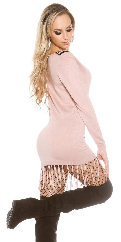 cd31a2ab8467 Dámske pletené šaty-ružové - Koucla - Dlhé svetre k legínam - vasa ...