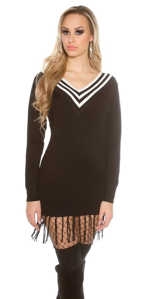 4dc472a17baa Dámske čierne pletené šaty - Koucla - Dlhé svetre k legínam - vasa ...
