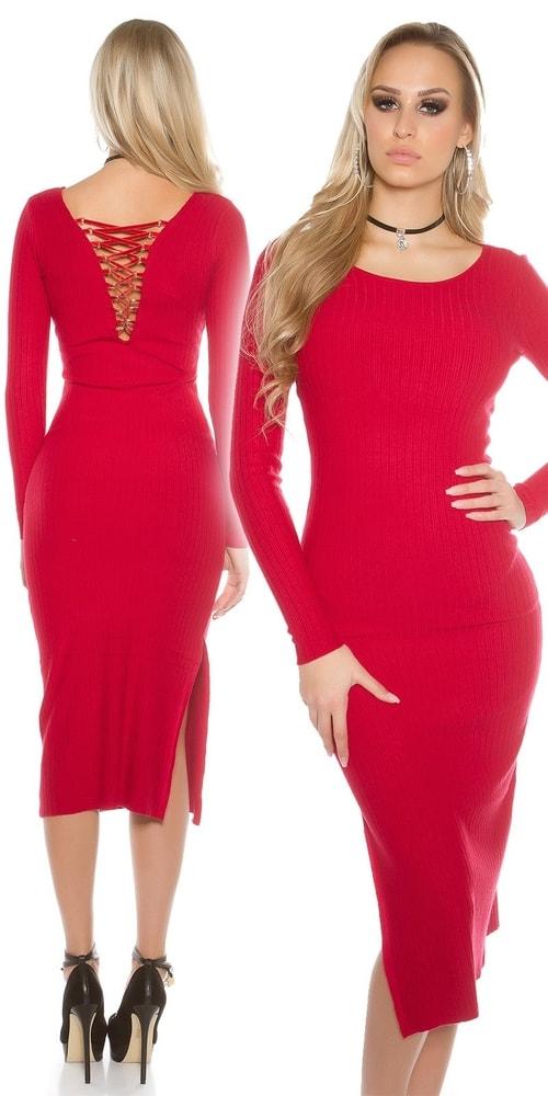 cb869ee5bac1 Dlhé pletené šaty-červené - Koucla - Úpletové šaty - vasa-moda.sk
