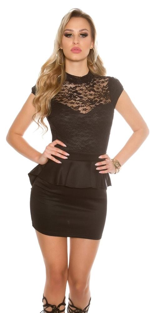 6bdd8702791b Dámske čierne šaty s peplum - Koucla - Večerné šaty a koktejlové šaty ...