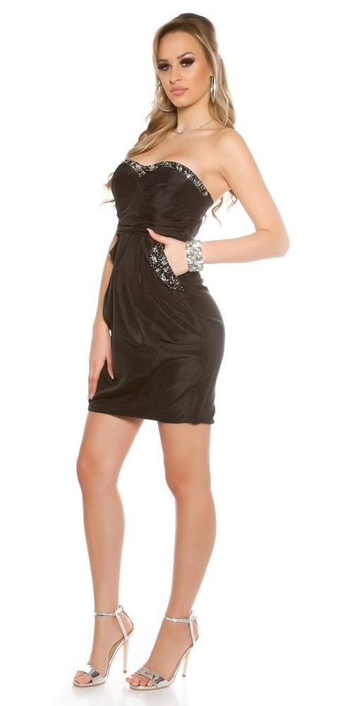 961836f2dcb4 Čierne dámske lesklé šaty - Koucla - Večerné šaty a koktejlové šaty ...