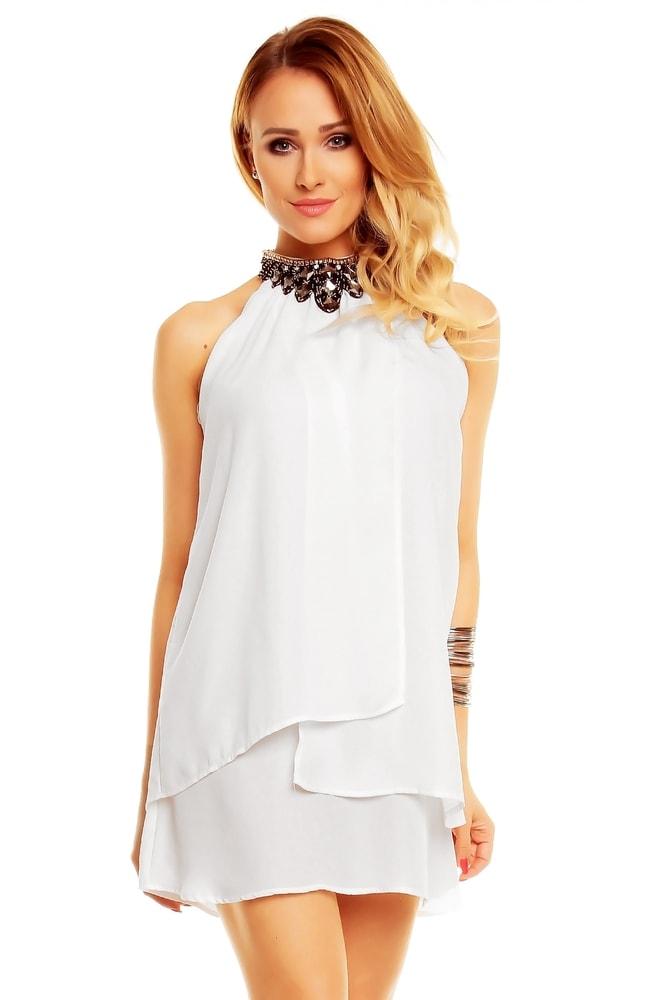 b79b44fd8b28 Biele elegantné mini šaty - EU - Krátke plesové šaty - vasa-moda.sk