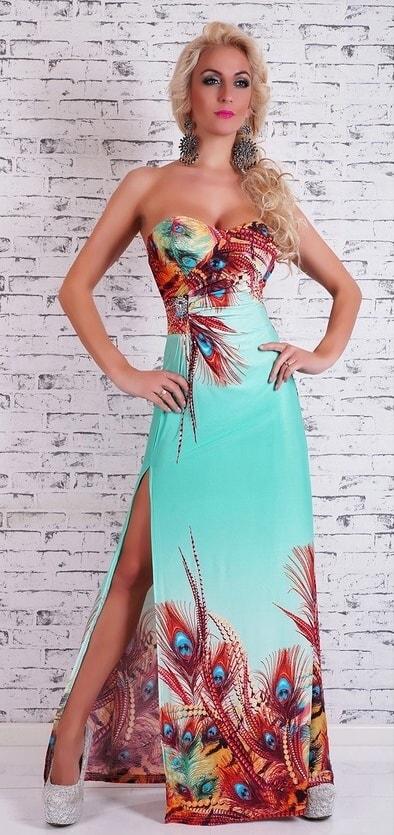 1e9f4b8ad32b Letné šaty s kvetinovým motívom - EU - Dlhé spoločenské šaty - vasa ...