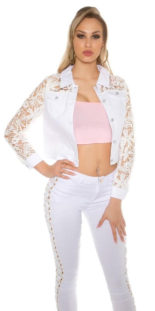 e6fd66362470 Dámska džínsová bunda s čipkou - Koucla - Bundy dámske jarné a ...