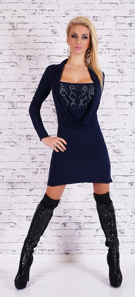 1c035d251 Modré úpletové šaty - EU - Úpletové šaty - vasa-moda.sk