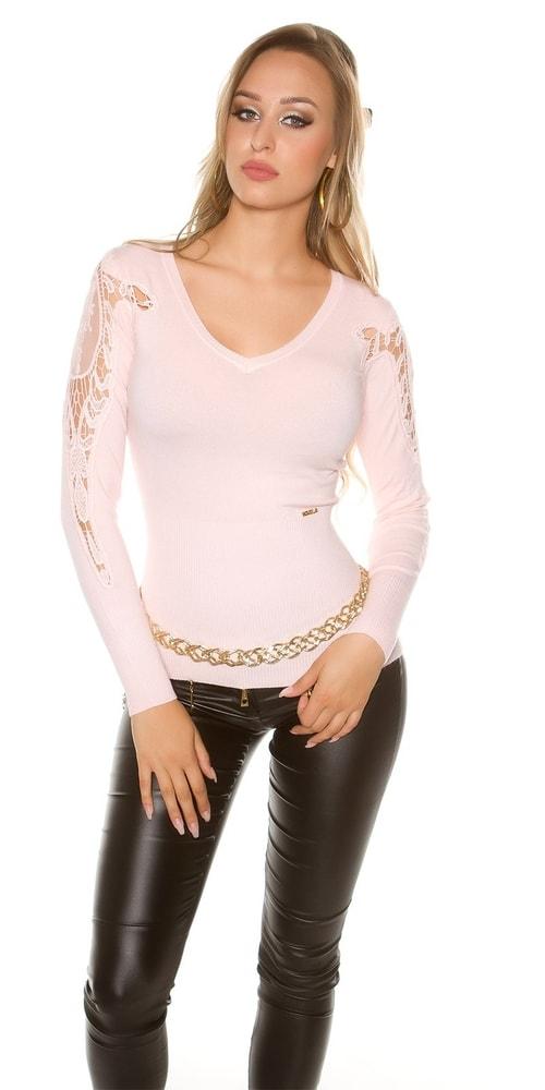 f08fdb5757e0 Elegantný sveter s čipkou - Koucla - Dámske svetre - vasa-moda.sk