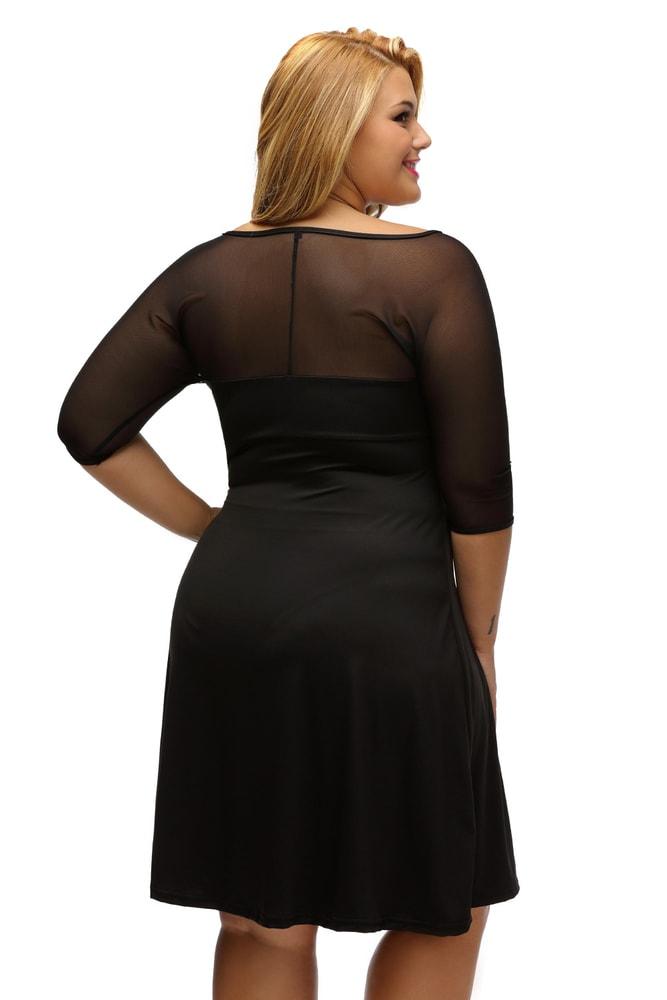985809bf84c0 Elegantné čierne šaty XXL - DAMSON - Spoločenské šaty pre plnoštíhle ...