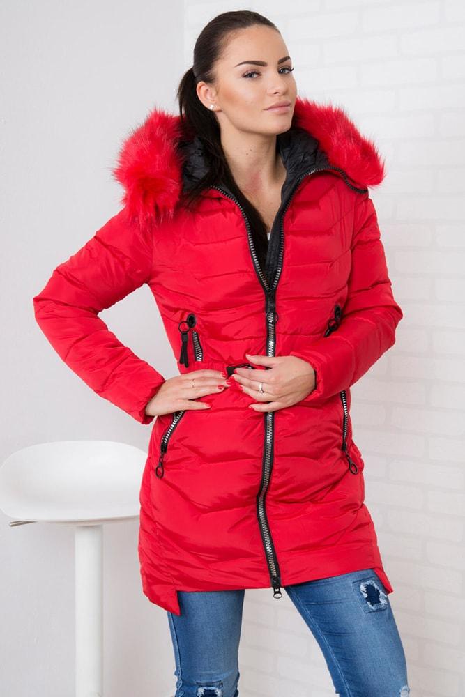 e8dff8c2c673 Červená zimná bunda s kapucňou - Kesi - Bundy dámske zimné ...