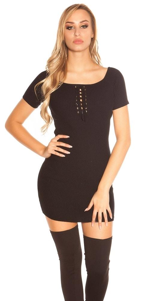 220d182f6375 Čierne úpletové mini šaty - Koucla - Úpletové šaty - vasa-moda.sk
