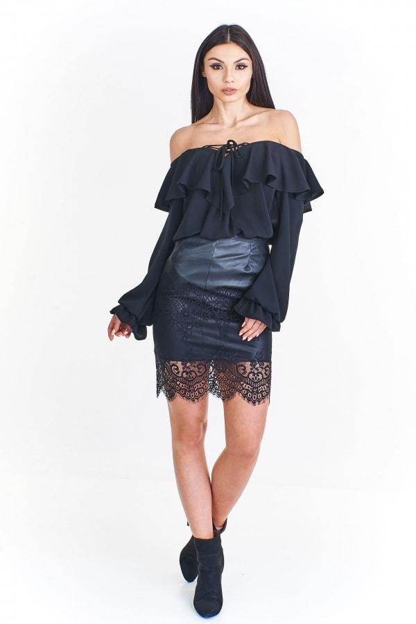 2a201f75e2bb Čierna sukňa s čipkou - Ptakmoda - Dámske sukne - vasa-moda.sk
